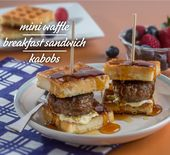 Mini Waffle Breakfast Sandwich Kabobs   – Yummylicious