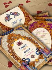 The Ekavali Royal Elephant Collection – Indian Wedding Invitations – An Ethnic Elephant Pocket to hold the ensemble