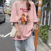 Japanese pink white pretty t-shirt harajuku japanese pink white pretty t-shirt