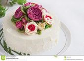 Birthday Cakes With Flowers Birthday Cake With Flowers Rose On White Background Stock Photo -…  – Birthday Cake Blue Ideen