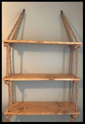 Items similar to Rope-distressed-wood-large hanging shelves-wall organization-housewarming-nursery-bedroom-bathroom-dorm-shelving-rustic-farmhouse on Etsy