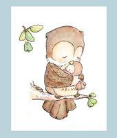 Children Art Print. MY BABY Collection- My Baby Owl. Print 8X10. Nursery Art Home Decor