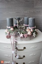 Advent wreath pink gray with deer