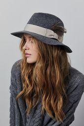 Floppy felt fedora hat with a feather , Gray felt hat , Winter felt hat , Women hat , Fedora felt ha – Accessories