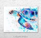 Blue Sea Schildkröte Aquarell Druck von Slaveika Aladjova, Kunst, Tier, Illustration, Kunst Meer, Meer Lebenskunst, Wohnkultur, Wandkunst