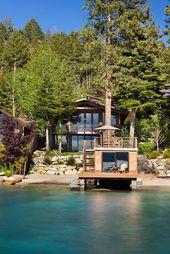 Seeufer-Eigenschaften mit erstaunlichen Ansichten, #Ansichten #dreamhouseinthewoods #erstaun…