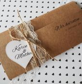 10x VINTAGE Wedding invitation Wedding invitations Kraft paper lace rustic print and envelope