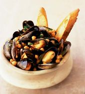 Photo of Mussels and chickpeas with bruschetta