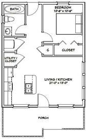 22×28 House — 1-Bedroom 1-Bath — 616 sq ft — PDF Floor Plan — Instant Download — Model 1C