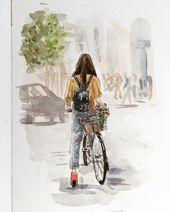 Ich liebe das Fahrrad so sehr   – Aquarell
