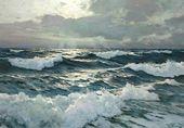 Frederick Judd Waugh (1861-1940). El mar abierto. Óleo sobre masonita. 22¾ x 32½ pulgadas …   – Wellen und Meer