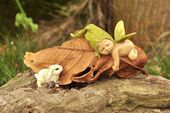 Miniature Dollhouse Fairy Garden ~ Sleeping Fairy Baby with Baby Rabbit ~ New