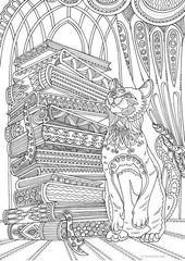 Cat and Books – Printable Grownup Coloring Web page from Favoreads (Coloring e-book pages for adults and youngsters, Coloring sheets, Coloring designs)