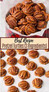 Pretzel Turtles (3 Ingredients) #desserts #cakerecipe #chocolate #fingerfood #easy