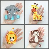 Baby Blanket PATTERN Jungle Animal Applique Crochet Patterns PDF Elephant Giraffe Lion Monkey...