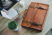 Photo of Slim Leather Briefcase, Men's Messenger, 15″ Laptop Briefcase, Attache, Work Bag, Tote, Full Grain Laptop's Bag, Men's Leather Saddle Bag