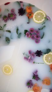 Milk bath flowers floral baby photo shoot