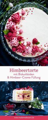 Rezept für Himbeertorte mit Biskuitböden
