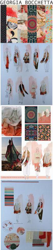 Fashion Portfolio – Development of textile printing and pattern designs – fashion sketchbook; Fashion illustration // Georgia Bocchetta