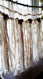 Custom French Shabby Chic Vintage Crochet Lace Burlap Curtain Rustic Romantic ANTIQUE Lace Kitchen Valance bathroom window Treatment