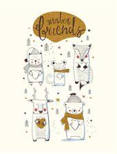 Baby Ilustration Gesetzte Illustration des Wintertier-Gekritzels. Mode-Print-Design,  #design #ge...