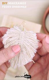 Makramee DIY: Makramee Federn als Ohrringe selber …