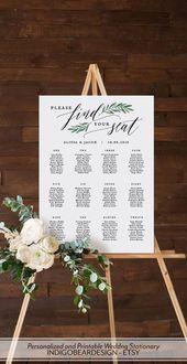 Greenery Seating Chart Wedding, Inscrivez-vous sur le plan de la salle à manger imprimable, trouvez votre siège …