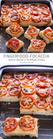 Fingerfood-Focaccia mit Tomaten und extra-dickem Boden