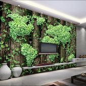 Floral World Map Wallpaper Green Leaves  Wall Mural Modern Home Decor For Living Room Bedroom Entryway Cafe