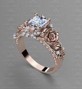 'Rosa Del Amor' 1.55ct Princess Cut Rose Gold Engagement Ring