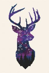 House deer cross sew sample Animal cross sew Galaxy Forest cross sew Night time sky embroidery Woodland Animal Counted Cross Sew PDF