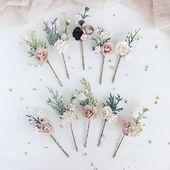 Erröten Blume Haarnadeln, Set von 10 Haarnadeln, Bridal Hair Clip - Schmuck - #Blush #Bride #flower #Hairpins #Hairclip