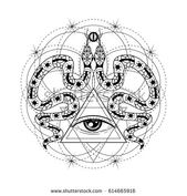 Vector Fisica Hand drawn illustration with all seeing eye and snakes. Sacred geometry design f...