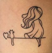 Une fille et son chat – Katzen tattoo – # – All About Tattoo & Piercing – #Chat … – Nette Katze und Hund Welpen