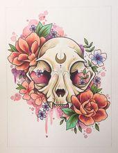 Cat skull painting, tattoo print, tattoo design, cat illustration, alternative decor, gothic art, watercolour skull painting  – Tattoo – #alternative …