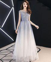 Blaues langes Abendkleid aus Tüll mit rundem Ausschnitt, blaues Abendkleid aus Tüll   – Vestidos de fiesta