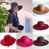 Details about US New Fashion Women Ladies Floppy Wide Brim Wool Felt Bowler Beach Hat Sun Cap – Mel's Bach party