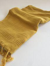 Handtuch Peshkir Handgefertigtes Vintage-Design in Senffarbe   – Bathroom