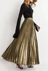 Golden Pleated High Waist Skirt – Outfits