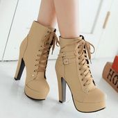 Trendy Women's High Heel Boots With Buckles and Solid Color Design