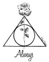 Harry Potter Heiligtümer des Todes Symbol mit Rose – April Urquhart