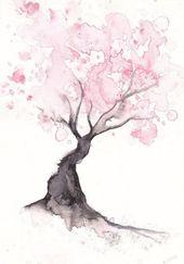 Kirschblüte Baum Print Aquarell Print Frühling Baum Geschenk Schlafzimmer Dekor Wandkunst Kirschblüte Dekor Home Wall Decor