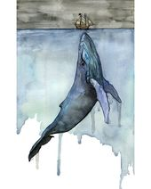 """Whale Painting, Watercolor Painting, Whale Print, Whale and Boat, Whale Art, Whale Nursery, Humpback Whale, Print titled, """"Fathoms Below"""""""