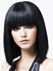 Affordable Impressive Beautiful Medium Straight Bob Black Hair Wig 100% Human Hair 12 Inches With Fringes - #impressive #black #afflexable