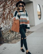 How to wear a black hat | Wide brim black hat outfit | Stripe sweater outfit ide… – @leah_behr