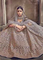 Buy Grey color net designer Indian wedding lehenga in UK, USA and Canada