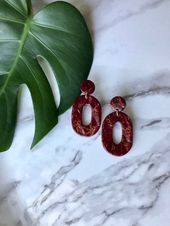 Burgundy Gold Marbled Stone Oval Polymer Clay Earrings | Dangle Earrings | Geome…