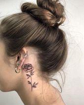 26 auffällige Rose Tattoo-Ideen für Sie; Blumentattoos; Rose Tätowierungen; s… – Ohr piercings ideen