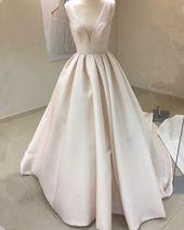 Vintage Style V-Ausschnitt Satin Brautkleider Ballkleid – #Ballkleid #Brautkleid