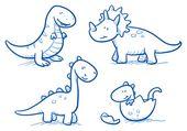 Vektor: Niedliche kleine Cartoon-Dinosaurier-Babys für Kinder, handgezeichnete Vektor Gekritzel